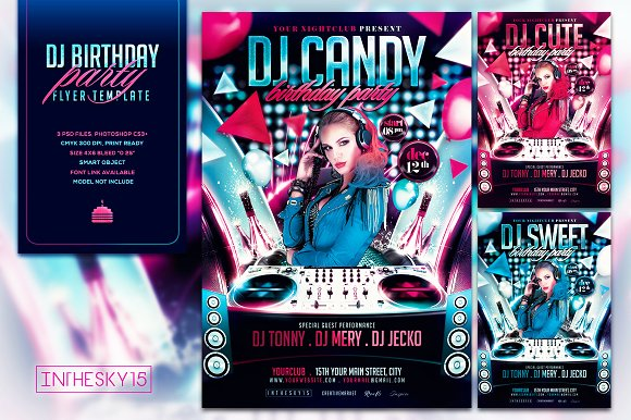 dj birthday flyer template flyer templates creative market