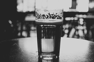 Pint of beer fade to black