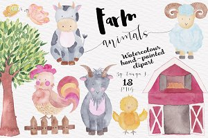 Watercolor Farm Animals Illustration