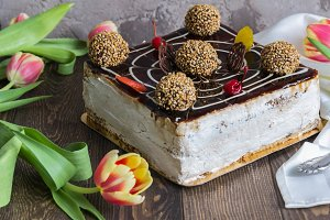 Caramel cake, flowers.March 8