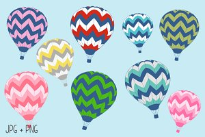 Hot Air Balloons Clip Art Set