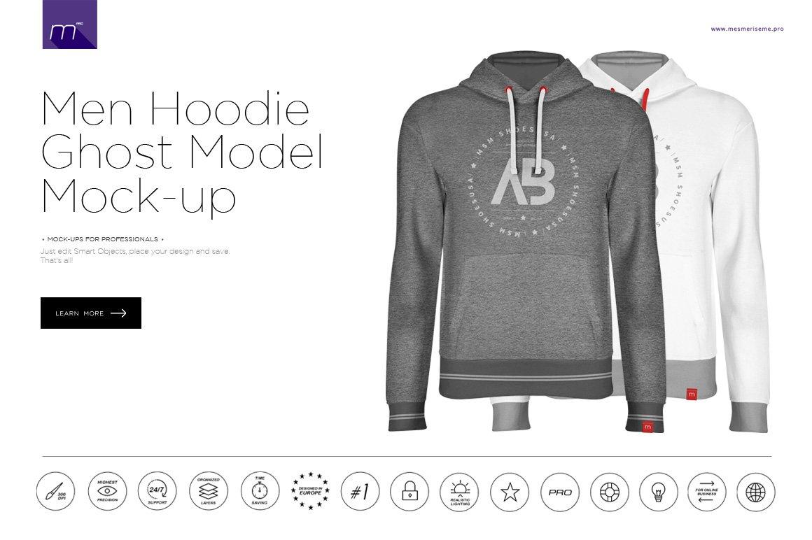 White apron mockup - Men Hoodie Ghost Model Mock Up