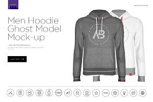 Men Hoodie Ghost Model Mock-up