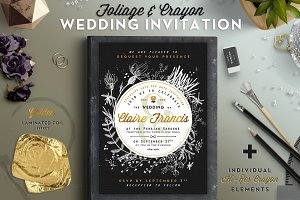 Foliage & Crayon Wedding Invite I
