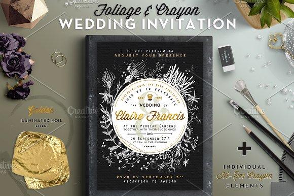 foliage crayon wedding invite i invitation templates creative