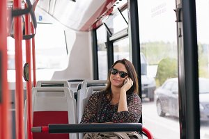 Woman using bus