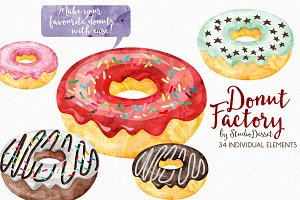 Donuts - Watercolor Illustrations