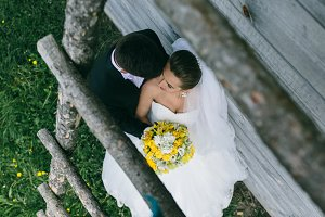 beautiful young wedding couple outdoors