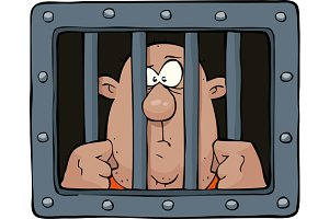 Prisoner behind bars