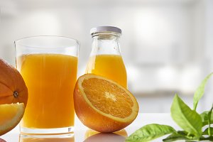 Squeezed orange juice on kitchen