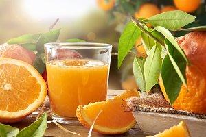 Orange juice in field closeup