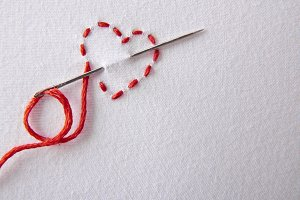 Embroidered red heart