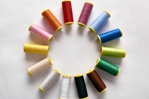 Spools of thread in circle blank