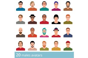 Set of avatars male and female