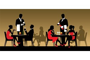 Silhouettes people in a restaurant
