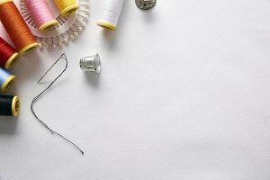 Sewing tools background top diagonal