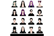 Set avatars male and female goths