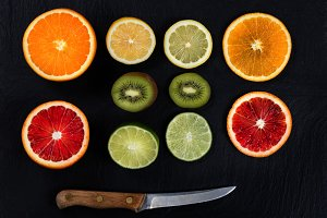 Sliced Fruit with Knife