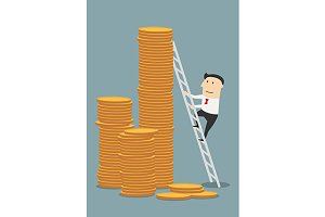 Businessman climbing to coin stacks