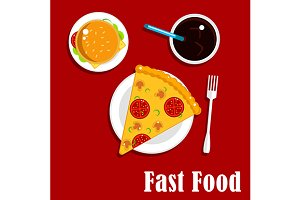 Fast food lunch flat icons