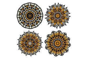 Abstract floral circular patterns