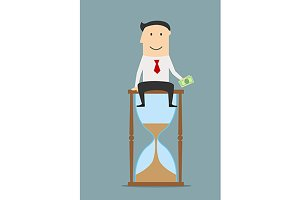Businessman sitting on a hourglass
