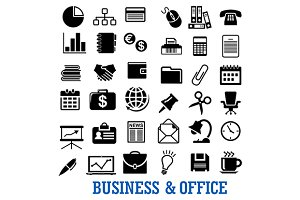 Finance, business, office flat icons
