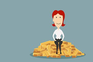 Businesswoman sitting on gold bars
