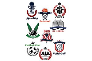 Sport games symbols and icons set