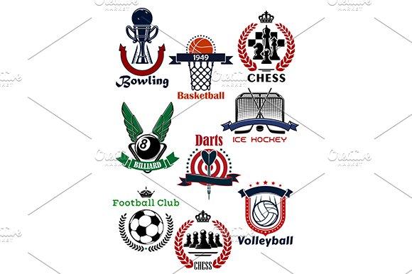 Sport games symbols and icons set