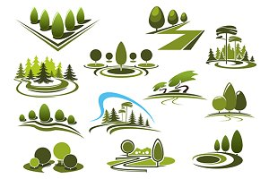 Parks, forest and garden icons