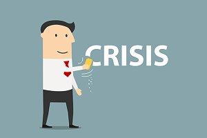 Businessman wiping off crisis