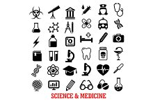 Science and medicine flat icons