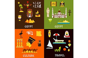 Egypt travel and culture flat icons