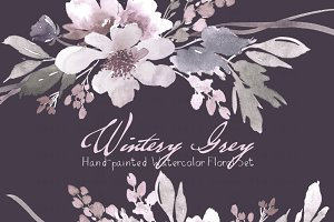 Wintery Grey - Watercolor Floral Set