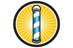 Barber Pole Circle Retro