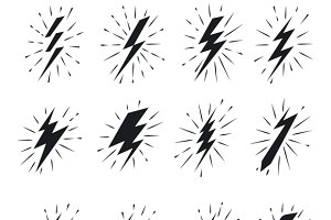 Vintage lightning bolt icons
