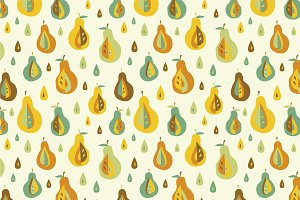 Apple and pear seamless pattern.