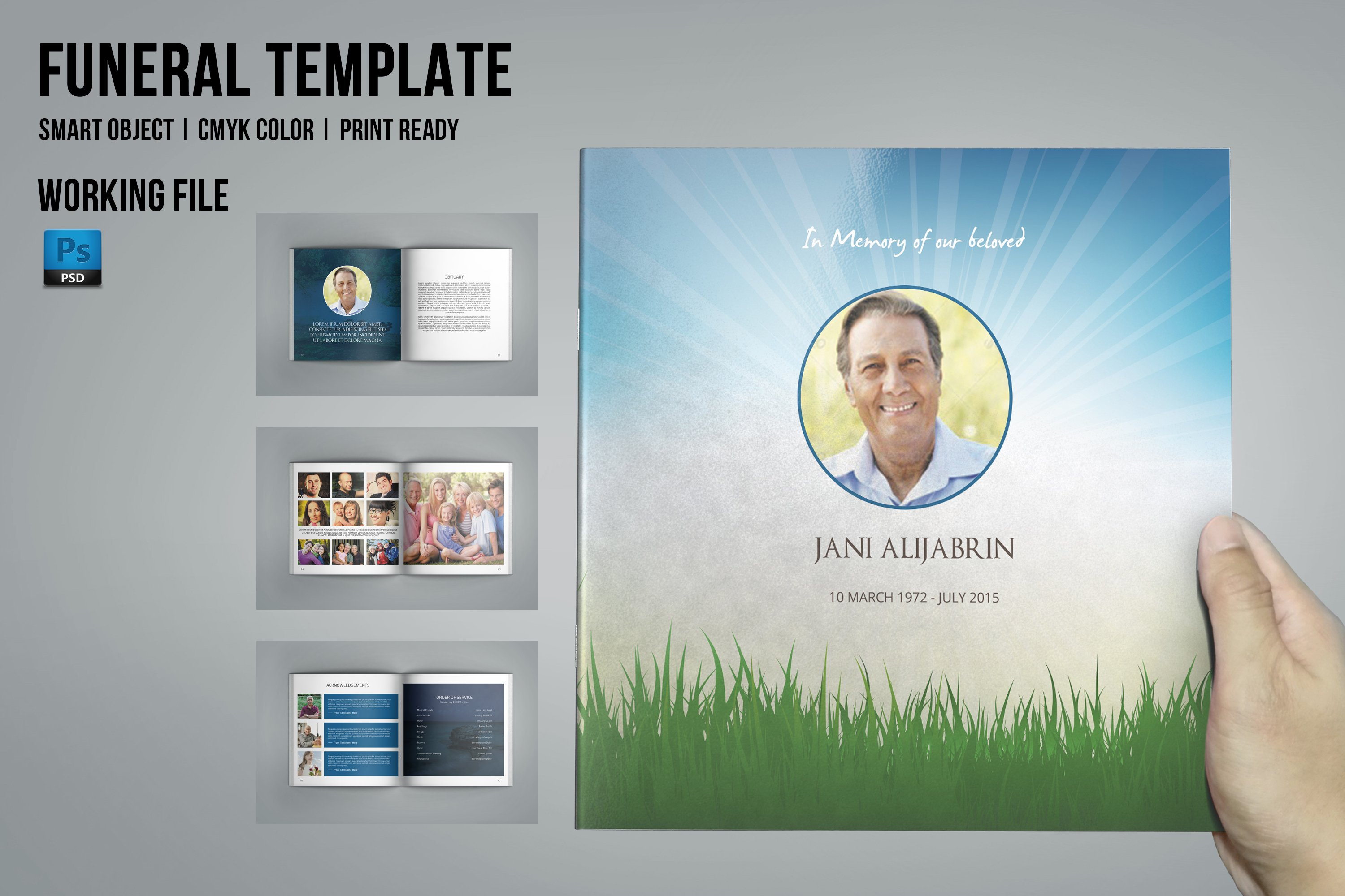 Funeral Program Template-8 Page-V435 ~ Brochure Templates ~ Creative ...