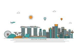 Singapore line art skyline
