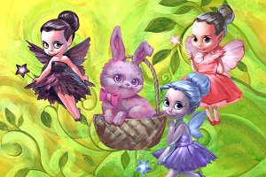 Three fairies and a bunny