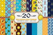 20 Summer Seamless Vector Patterns