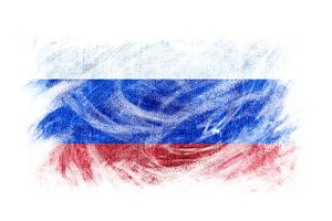 Russia flag blackboard chalk erased