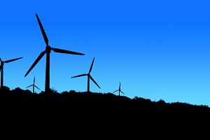 Wind power plant in mountains blue