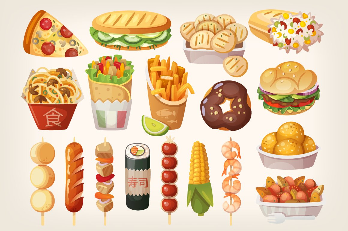 Street food from different countries ~ Illustrations ...