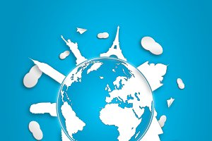 concept of global tourism white/blue