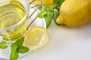 Green tea, mint, lemon top close up