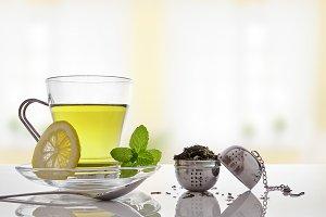 Green tea, mint, lemon, salon