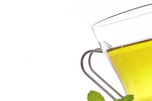 Green tea with mint closeup