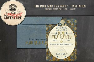 Mad Tea Party Invitation - Blue